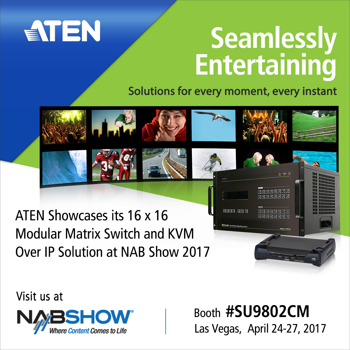 ATEN Showcases its 16 x 16 Modular Matrix Switch and KVM Over IP Solution at NAB Show 2017