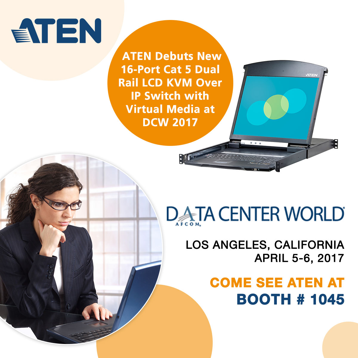 ATEN Debuts New 16-Port Cat 5 Dual Rail LCD KVM Over IP Switch with Virtual Media at Data Center World 2017