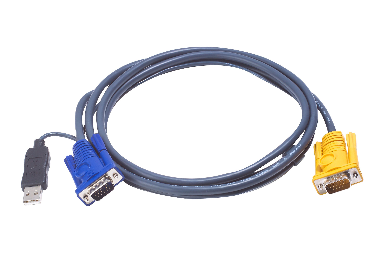 Cable KVM USB de 3 m con SPHD 3 en 1 y convertidor PS/2 a USB integrado-1