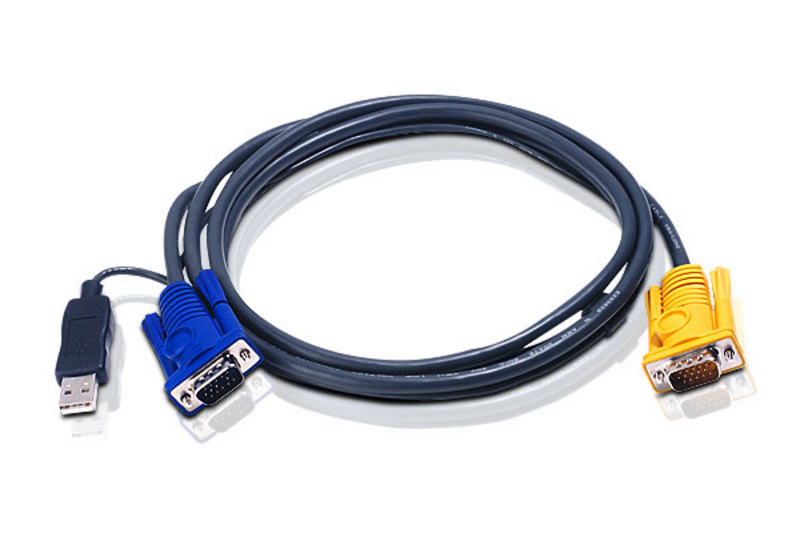 6M USB KVM Cable with 3 in 1 SPHD and built-in PS/2 to USB converter-1