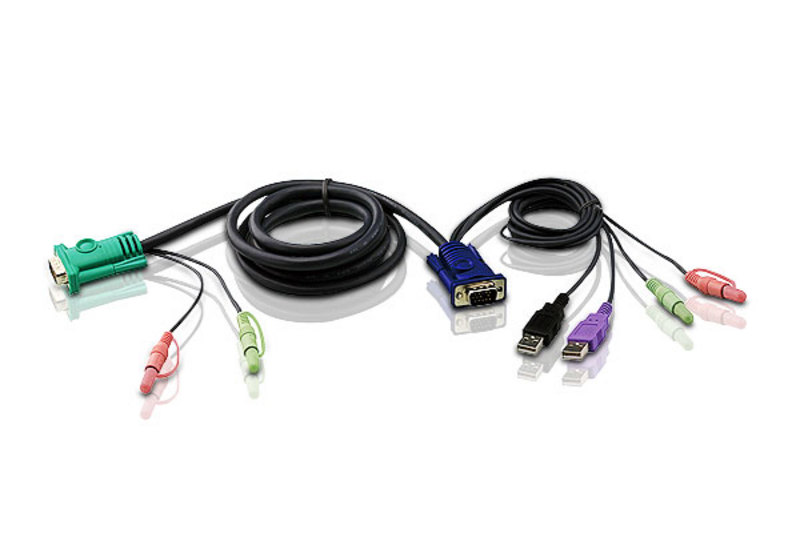 1.8M USB 2.0 KVM Cable with 3 in 1 SPHD and Audio-1