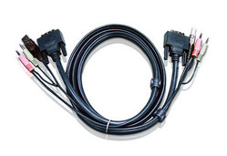 Cable KVM de doble enlace DVI-D USB de 3 m