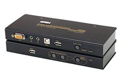 Extensor KVM USB VGA/Áudio Cat 5 com armazenamento flash USB (1024 x 768 a 250m)