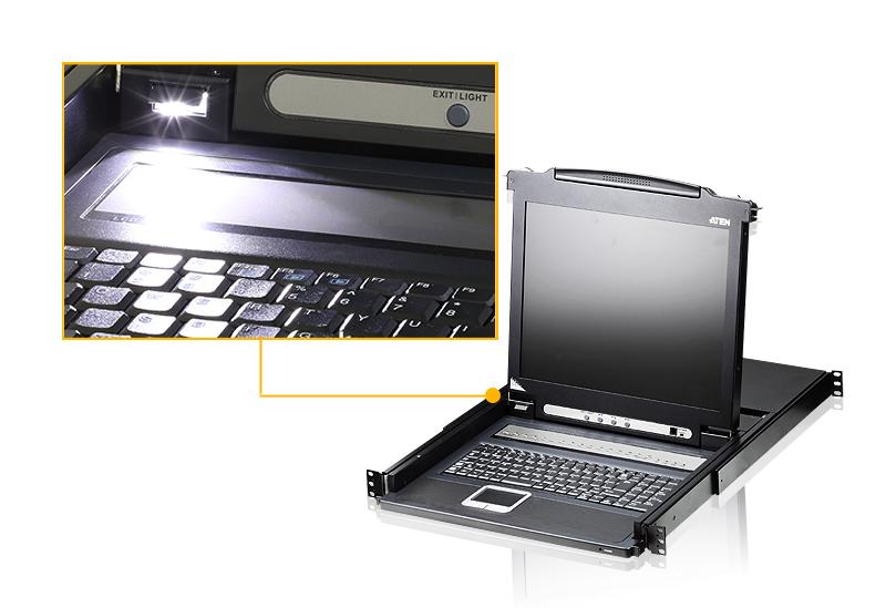 Comutador KVM de 16 portas PS/2 VGA LCD com porta de ligação em cadeia-4