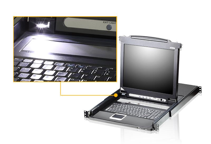 Conmutador KVM LCD VGA PS/2-USB de 16 puertos con puerto para conexión en cadena y soporte para periféricos USB-4