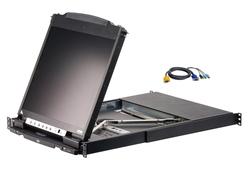 """8-Port 19"""" Dual Rail LCD KVM with 8 PS/2-USB KVM Cables"""