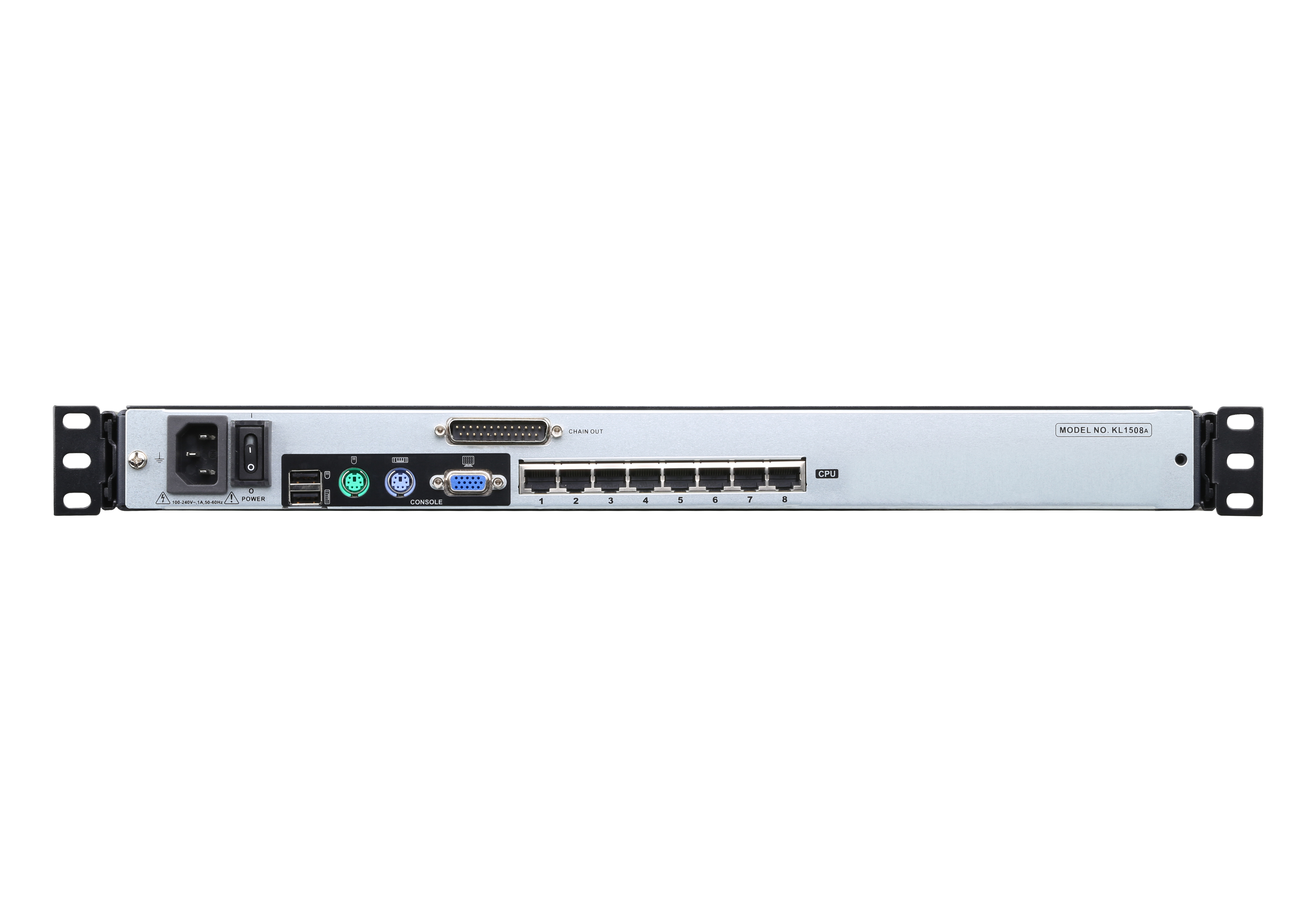 8-Port Cat 5 Dual Rail LCD KVM Switch with Daisy-Chain Port-2
