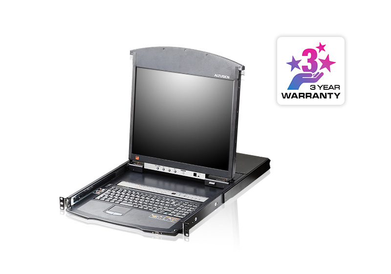 Acceso compartido para 1 local/remoto Conmutador KVM LCD de dos rieles Cat 5 de 8 puertos sobre IP con puerto para conexión en cadena-1