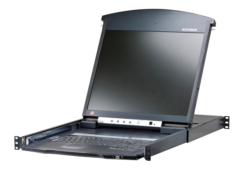 Acceso compartido para 1 local/remoto Conmutador KVM LCD de dos rieles Cat 5 de 16 puertos sobre IP con puerto para conexión en cadena-1