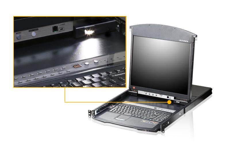Acceso compartido para 1 local/remoto Conmutador KVM LCD de dos rieles Cat 5 de 16 puertos sobre IP con puerto para conexión en cadena-4