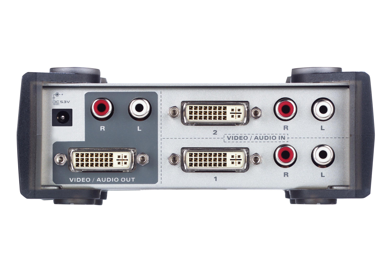 Comutador DVI/Áudio de 2 portas-2