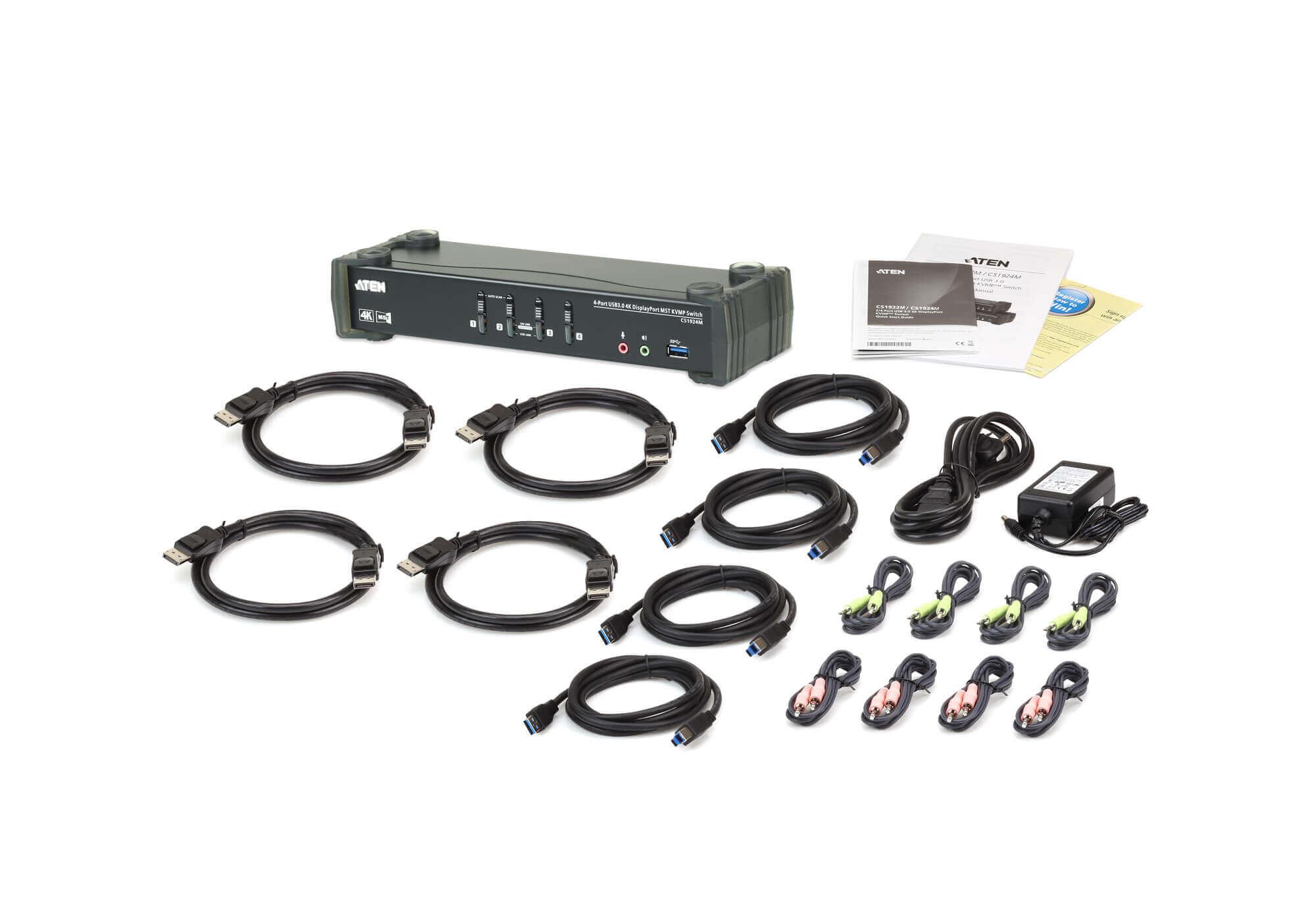 4-Port USB 3.0 4K DisplayPort MST KVMP™ Switch (Cables included)-4