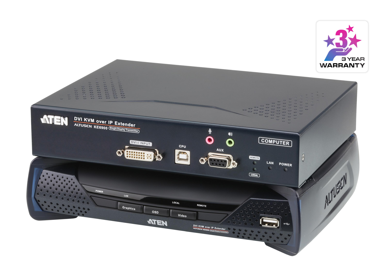 Alargador KVM de una sola pantalla DVI-I sobre IP-1