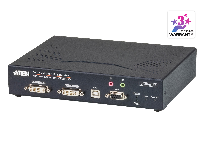 DVI-I雙螢幕KVM Over IP訊號延長器(傳送裝置)-1