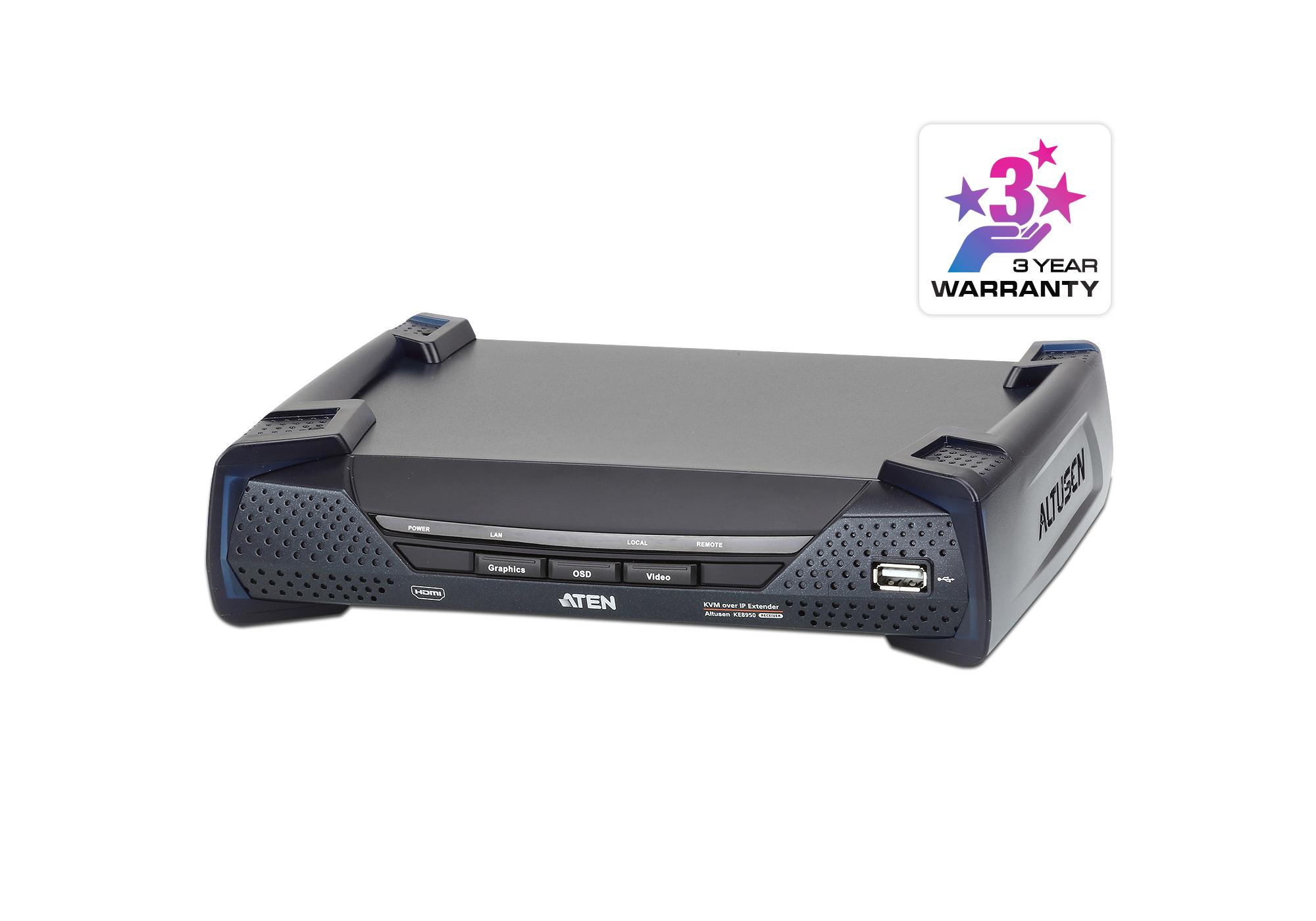 Receptor de KVM HDMI 4K a través de IP de una sola pantalla-1