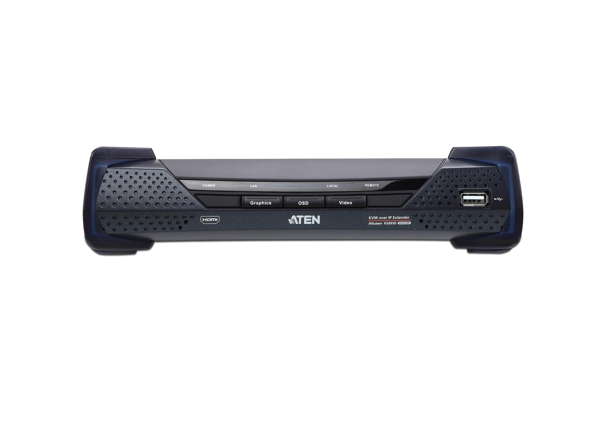 Recetor 4K HDMI de ecrã individual KVM Sobre IP-3