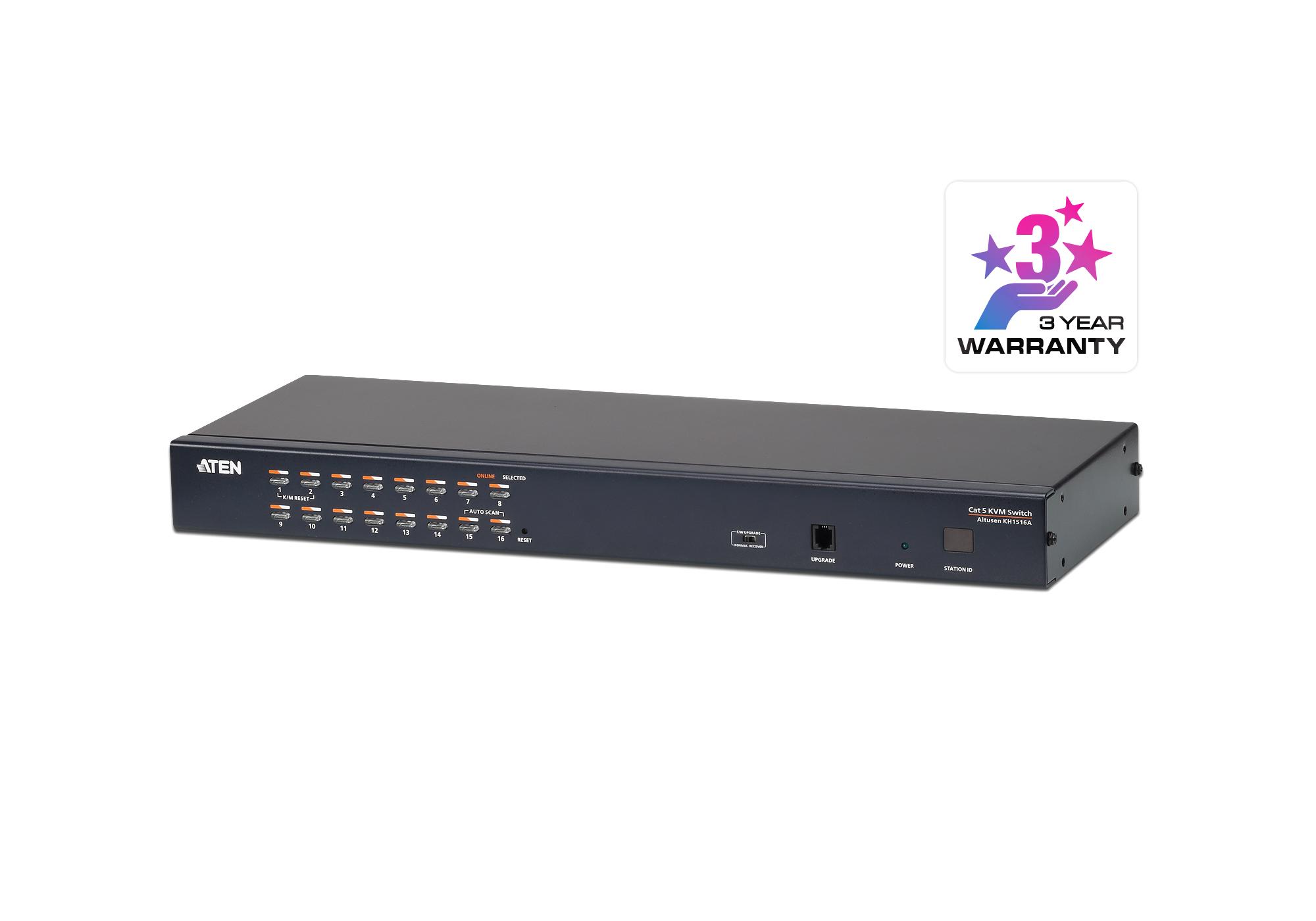 Comutador KVM de 16 portas Cat 5 com porta de ligação em cadeia-1