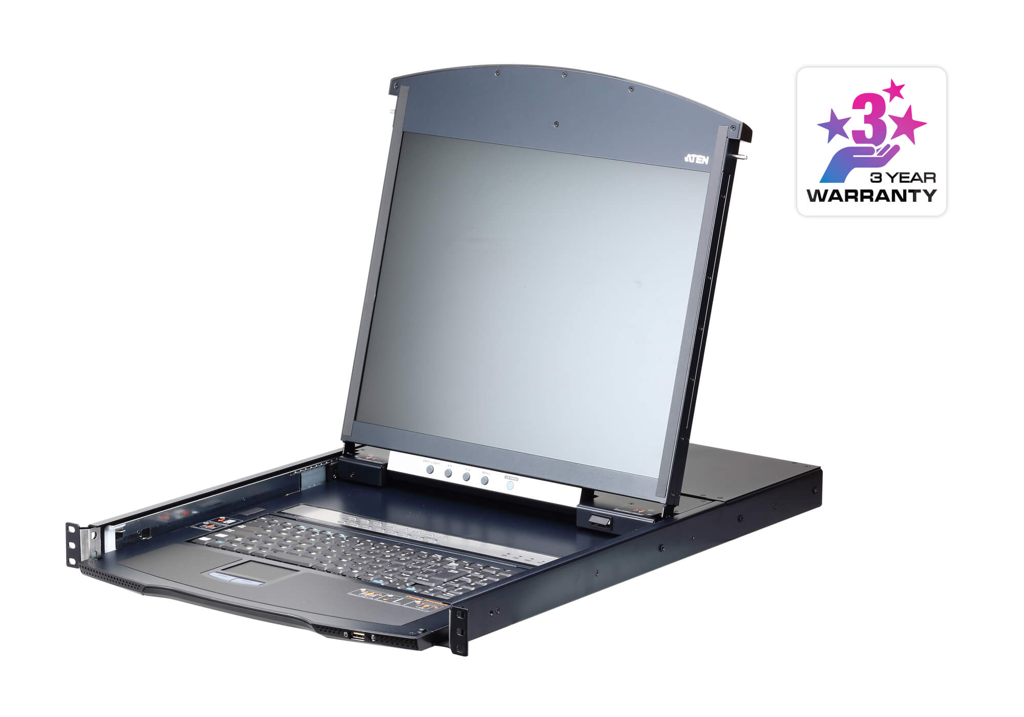 Conmutador KVM LCD a través de IP de 16 puertos, Cat 5 y doble raíl Acceso para 1 usuario local / 1 remoto-1