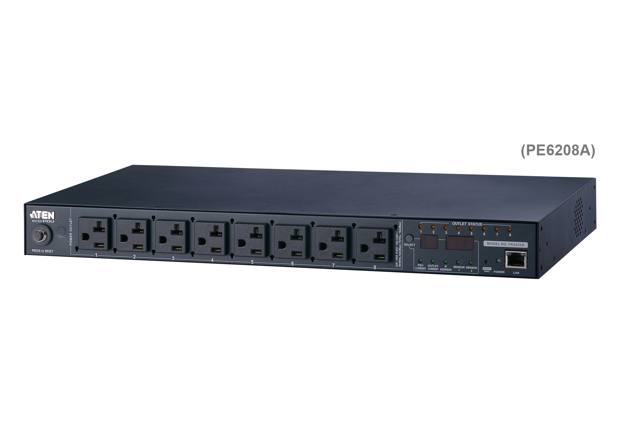 20A/16A 8-Outlet 1U Metered & Switched eco PDU-1