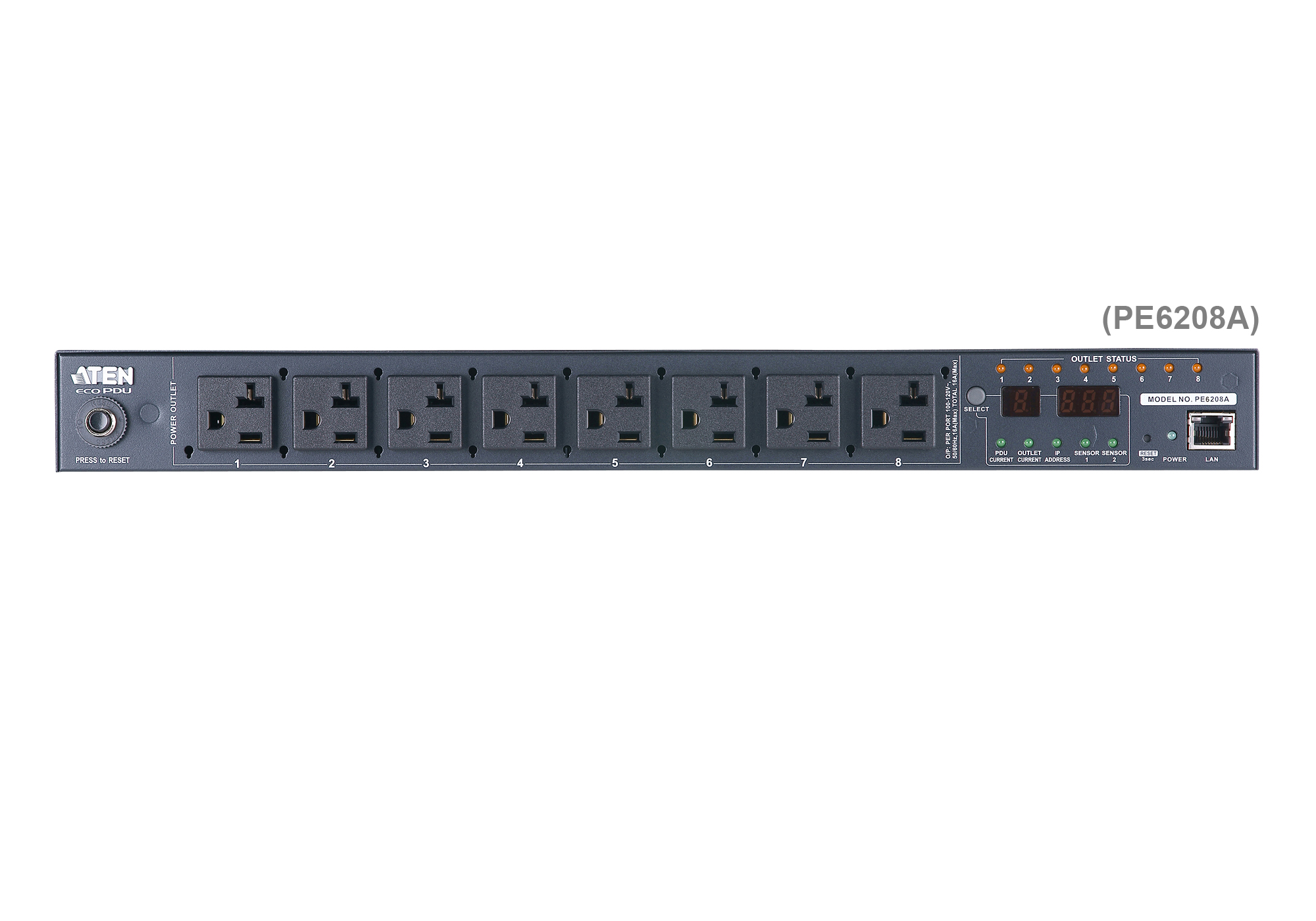 20A/16A 8-Outlet 1U Metered & Switched eco PDU-5