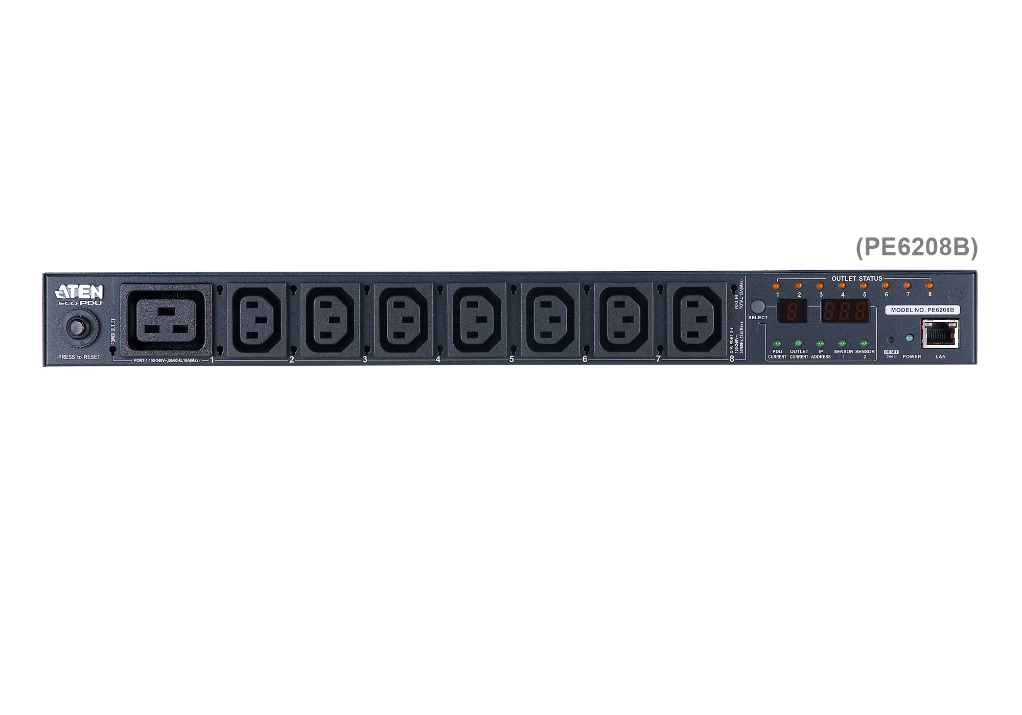 20A/16A 8-Outlet 1U Metered & Switched eco PDU-6