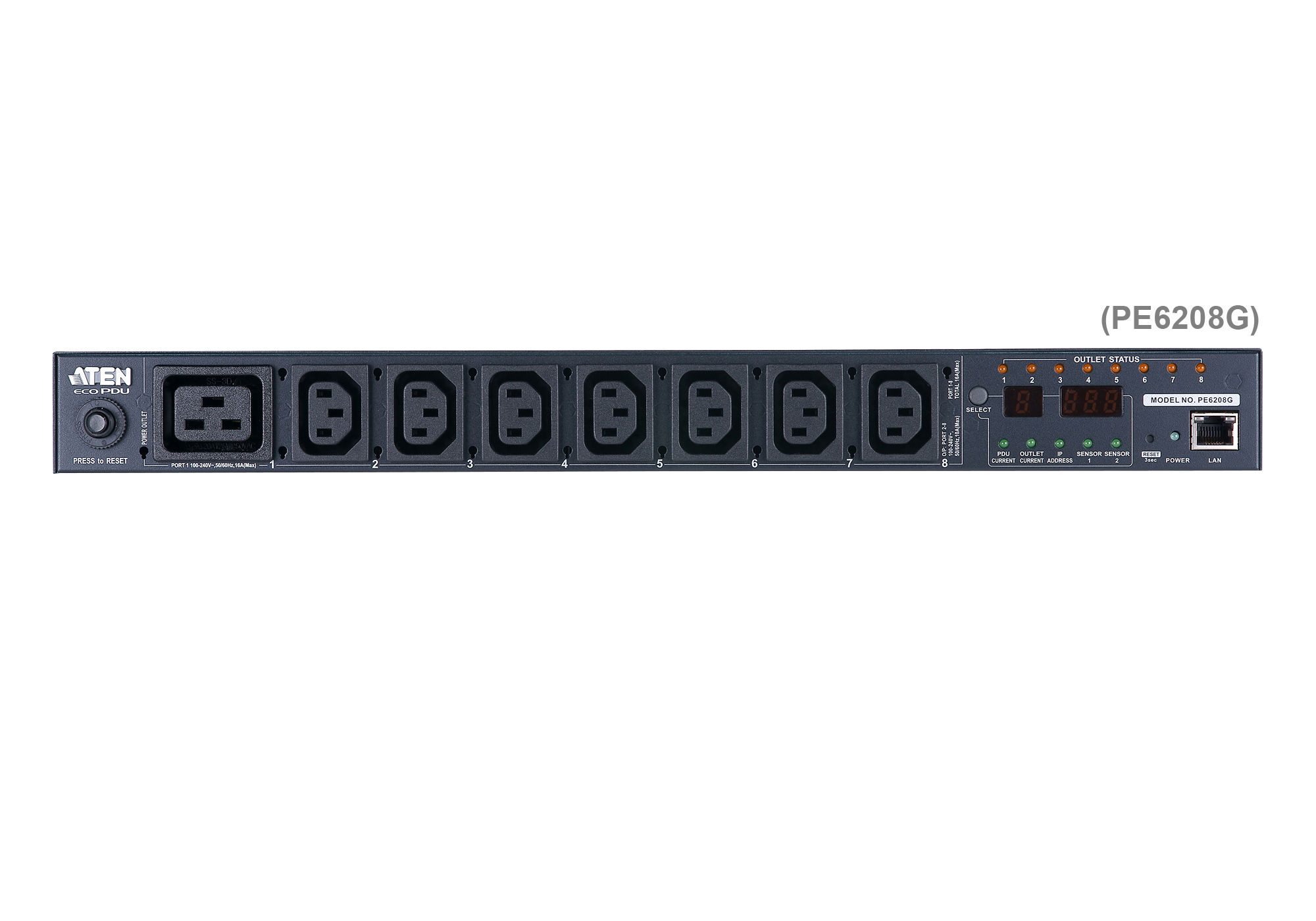 20A/16A 8-Outlet 1U Metered & Switched eco PDU-7