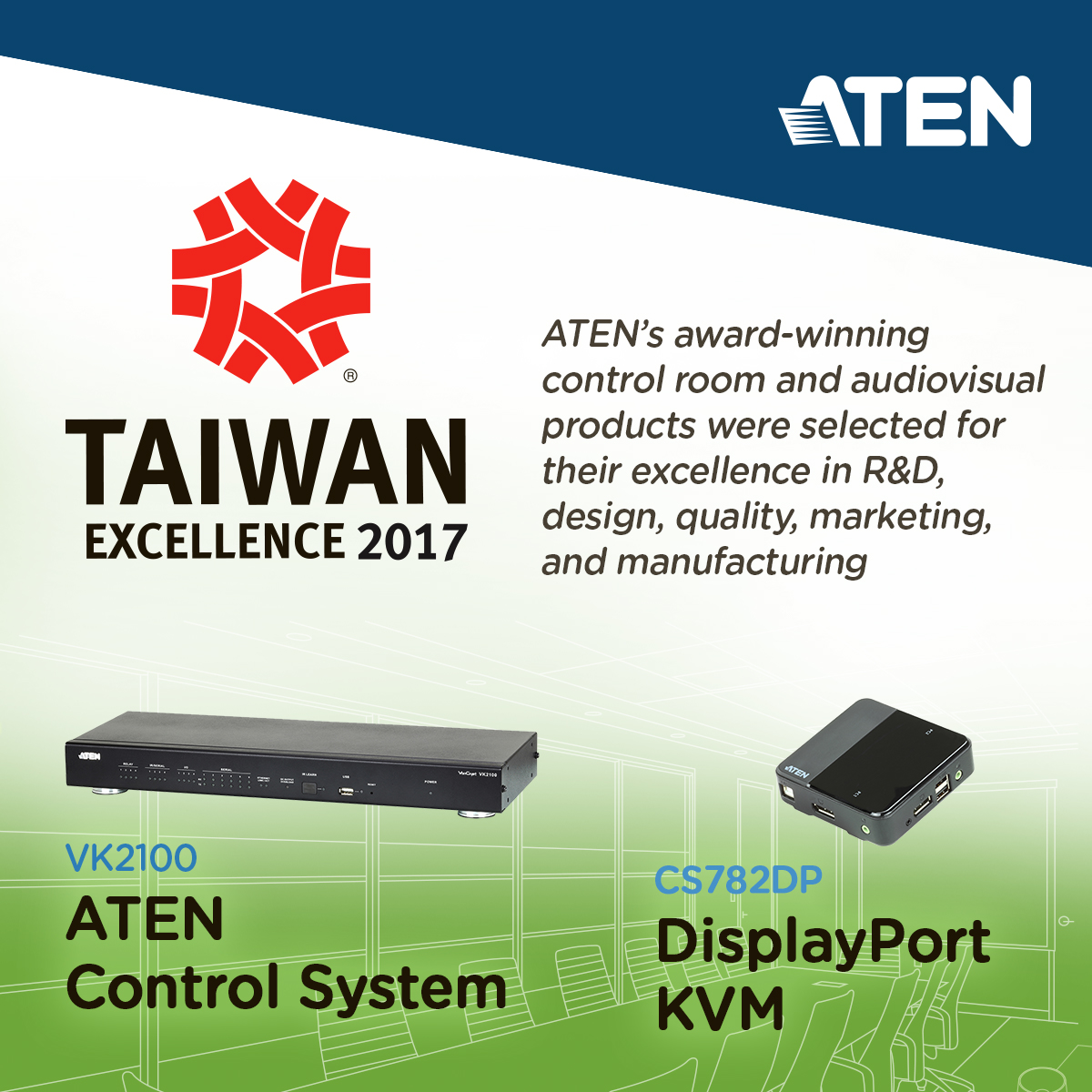 ATEN CS782DP DisplayPort KVM and VK2100 ATEN Control System Box win 2017 Taiwan Excellence Awards