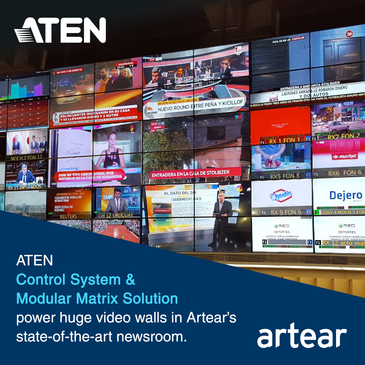 ATEN Control System & Modular Matrix Solution Power Huge Video Walls in Artear's State-of-the-art Newsroom