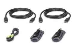 3 M USB DisplayPort Dual Display Secure KVM Kabel-Set