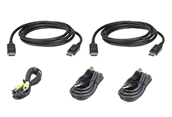 Kit de cable KVM seguro para dos pantallas DisplayPort USB de 3 M