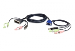 Cable KVM USB VGA a DVI-A de 1,8 m con audio