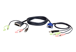 Cable KVM USB VGA a DVI-A de 3 m con audio