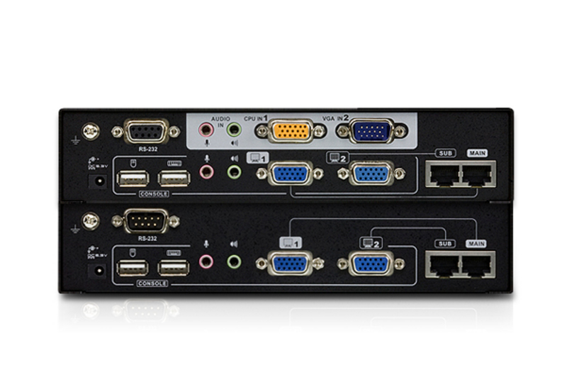 USB VGA Dual View Cat 5 KVM Extender with Deskew (1280 x 1024@300m)-2