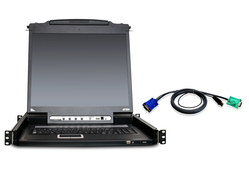"16-Port 19"" LCD KVM Kit with 12-USB cables"