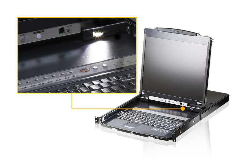 PS/2-USB VGA Dual Rail LCD Console with USB Peripheral Support-4