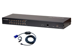 16-Port Cat 5 KVM with 12 USB KVM Adapter Cables