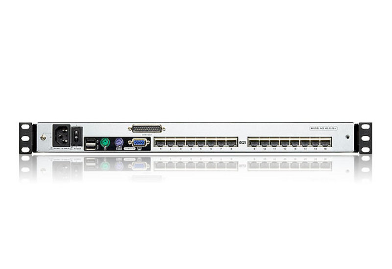 Consola LCD dual rail con switch KVM integrado multi-interfaz Cat 5 de 16 puertos-2