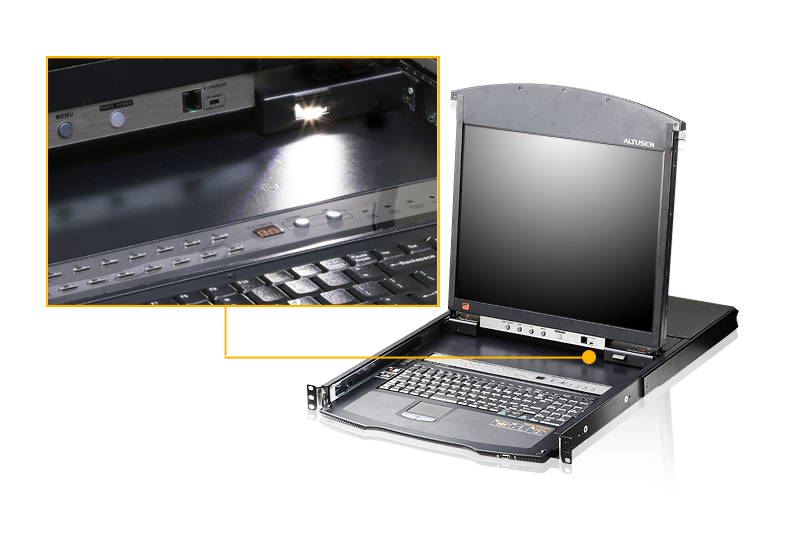 Consola LCD dual rail con switch KVM por IP integrado multi-interfaz Cat 5 de 16 puertos con acceso compartido desde consolas local/remota-4