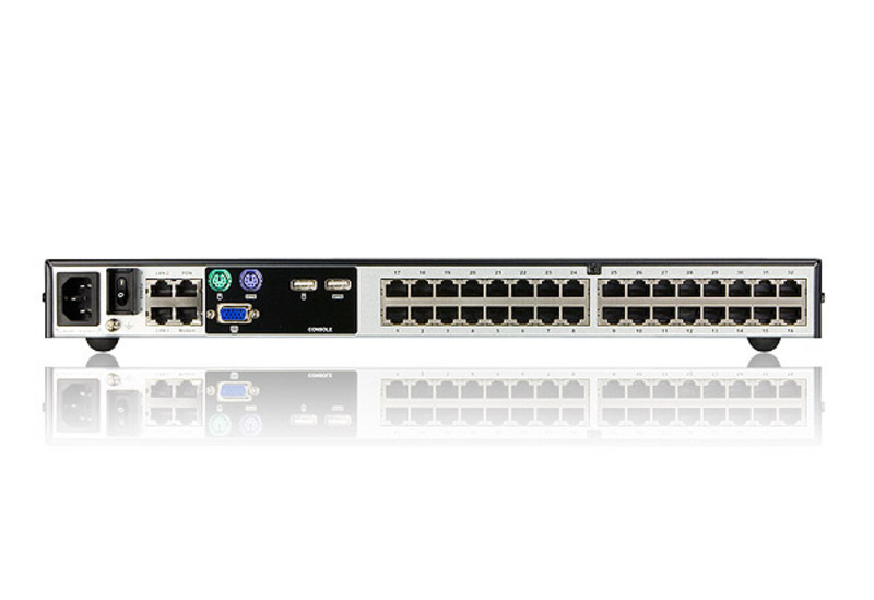 Switch KVM por IP multi-interfaz Cat 5 de 32 puertos de 1 consola local y 4 consolas remotas (1600 x 1200)-2