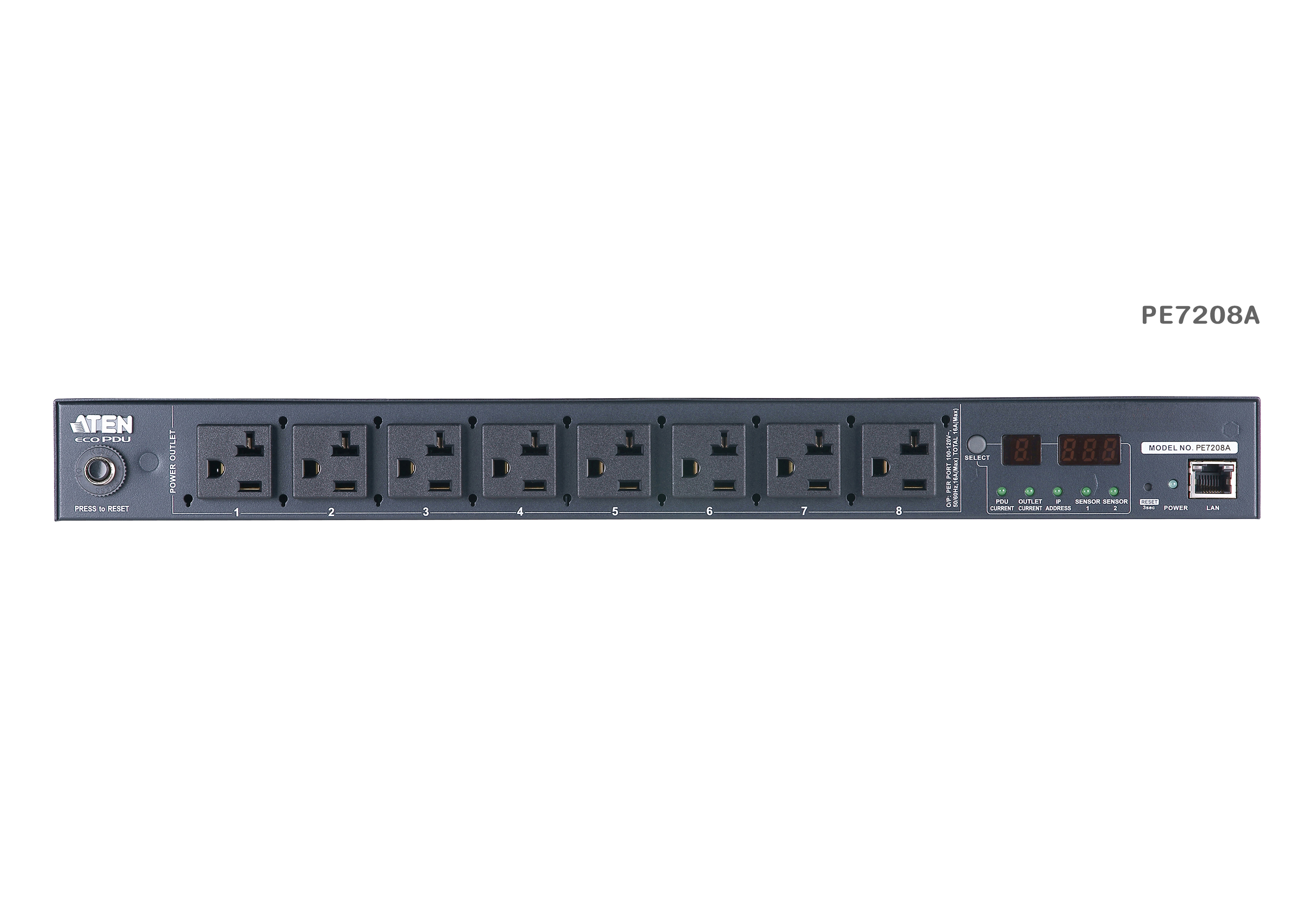 20A/16A 8-Outlet 1U Outlet-Metered eco PDU-3