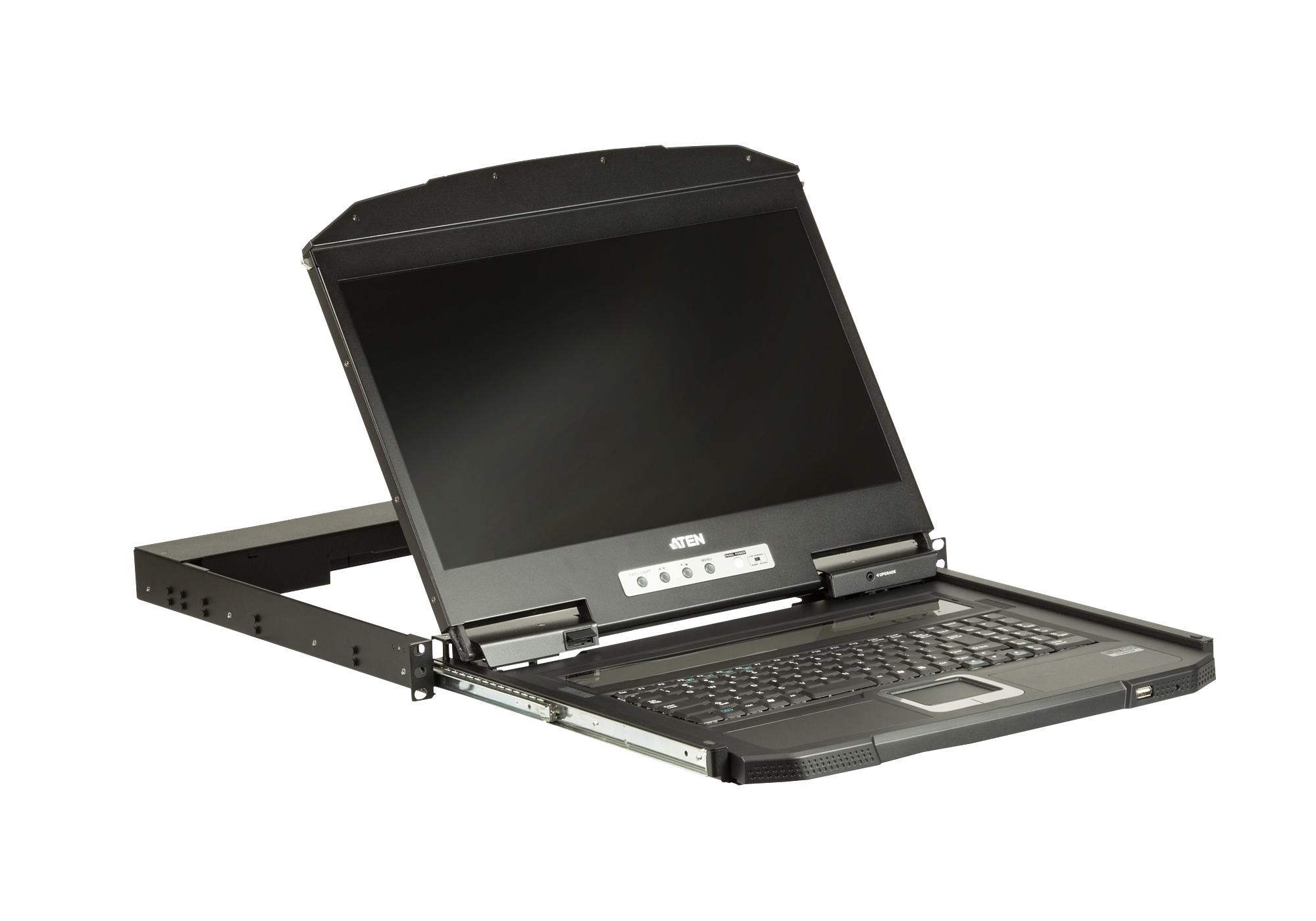 1u Ultra Short Depth Single Rail Widescreen Lcd Console