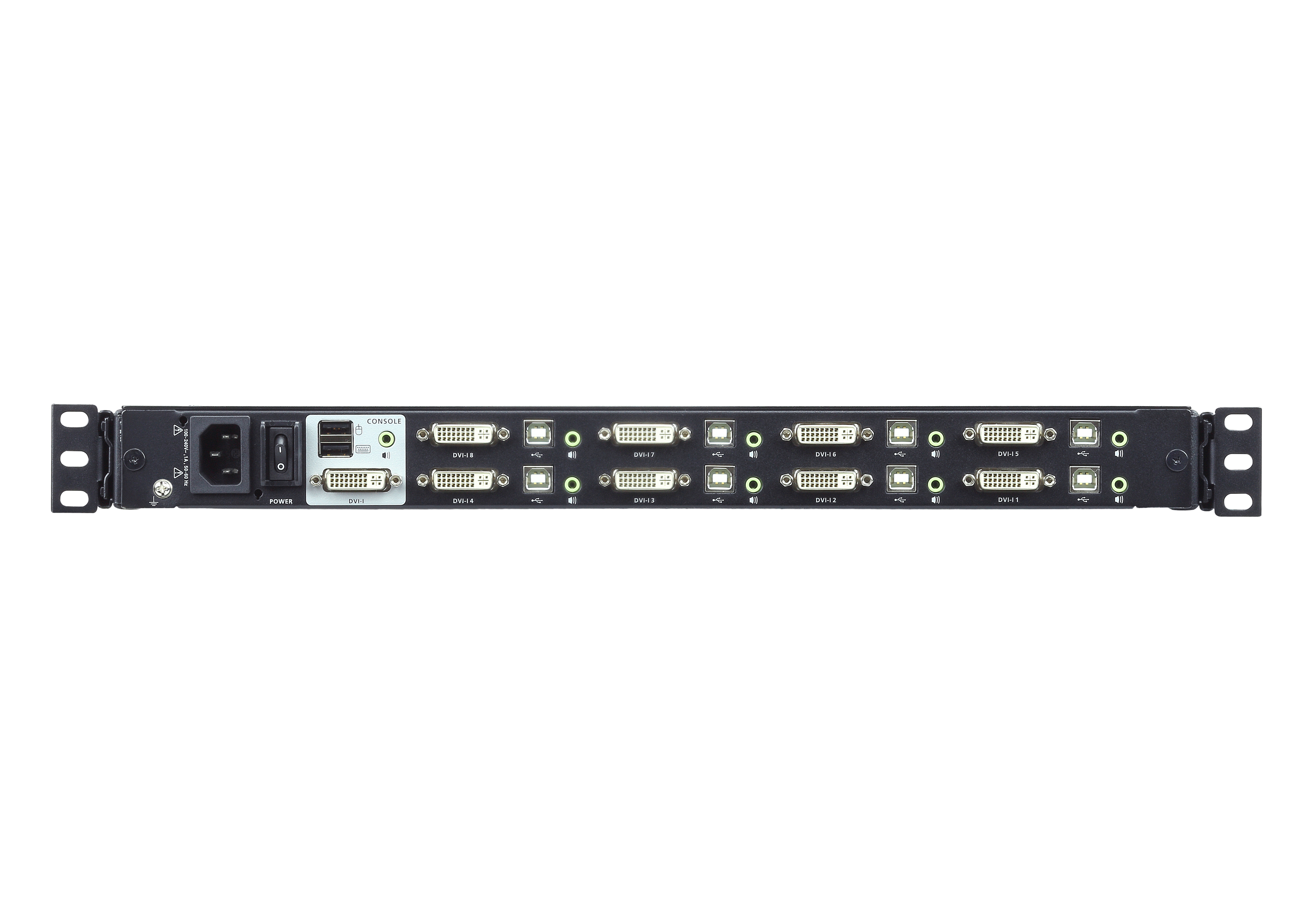 Consola LCD panorámica single rail con switch KVM integrado DVI USB de 8 puertos-2