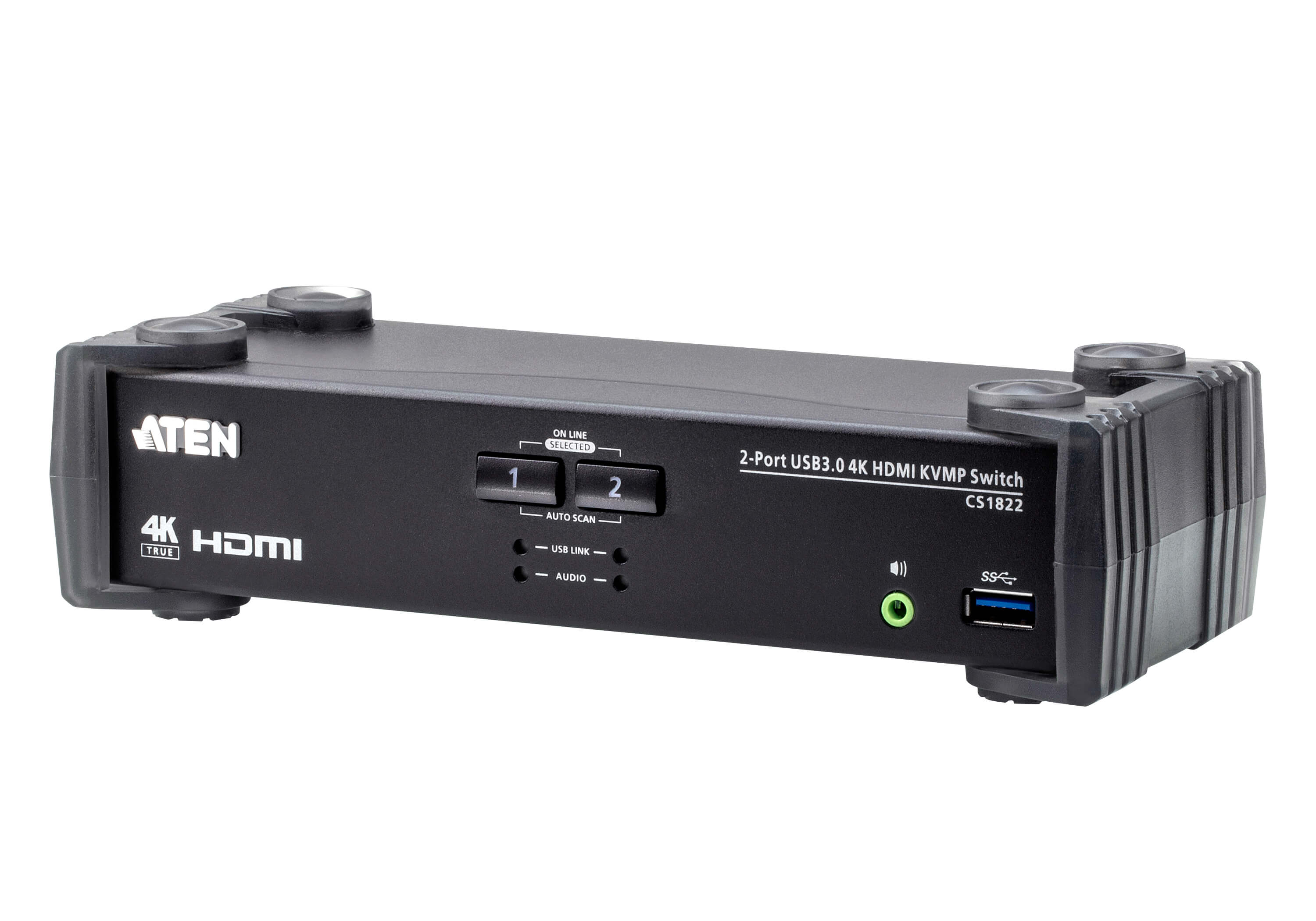 2-Port USB 3.0 4K HDMI KVMP™ Switch with Audio Mixer Mode