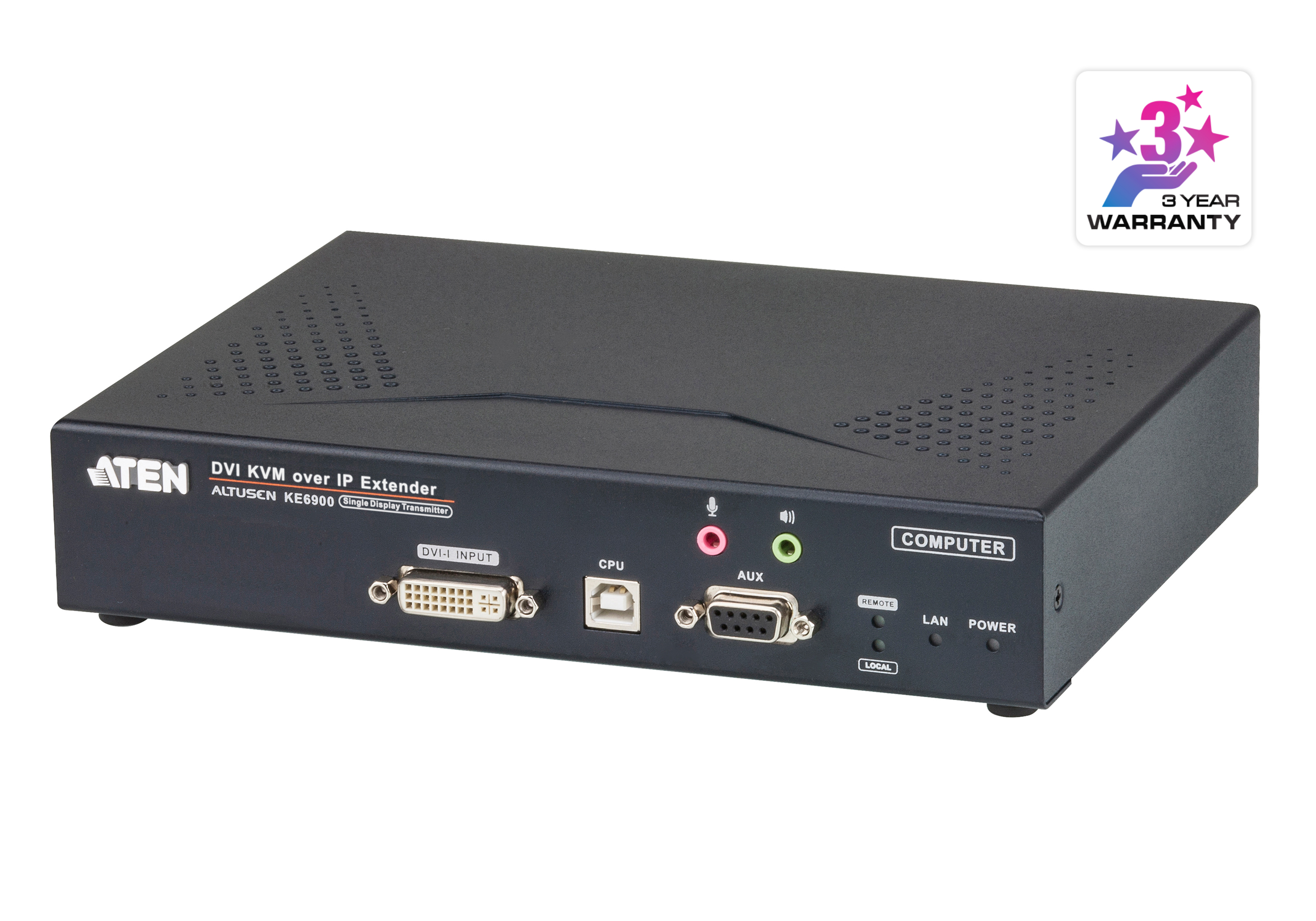 USB DVI-I Single Display KVM Over IP Transmitter