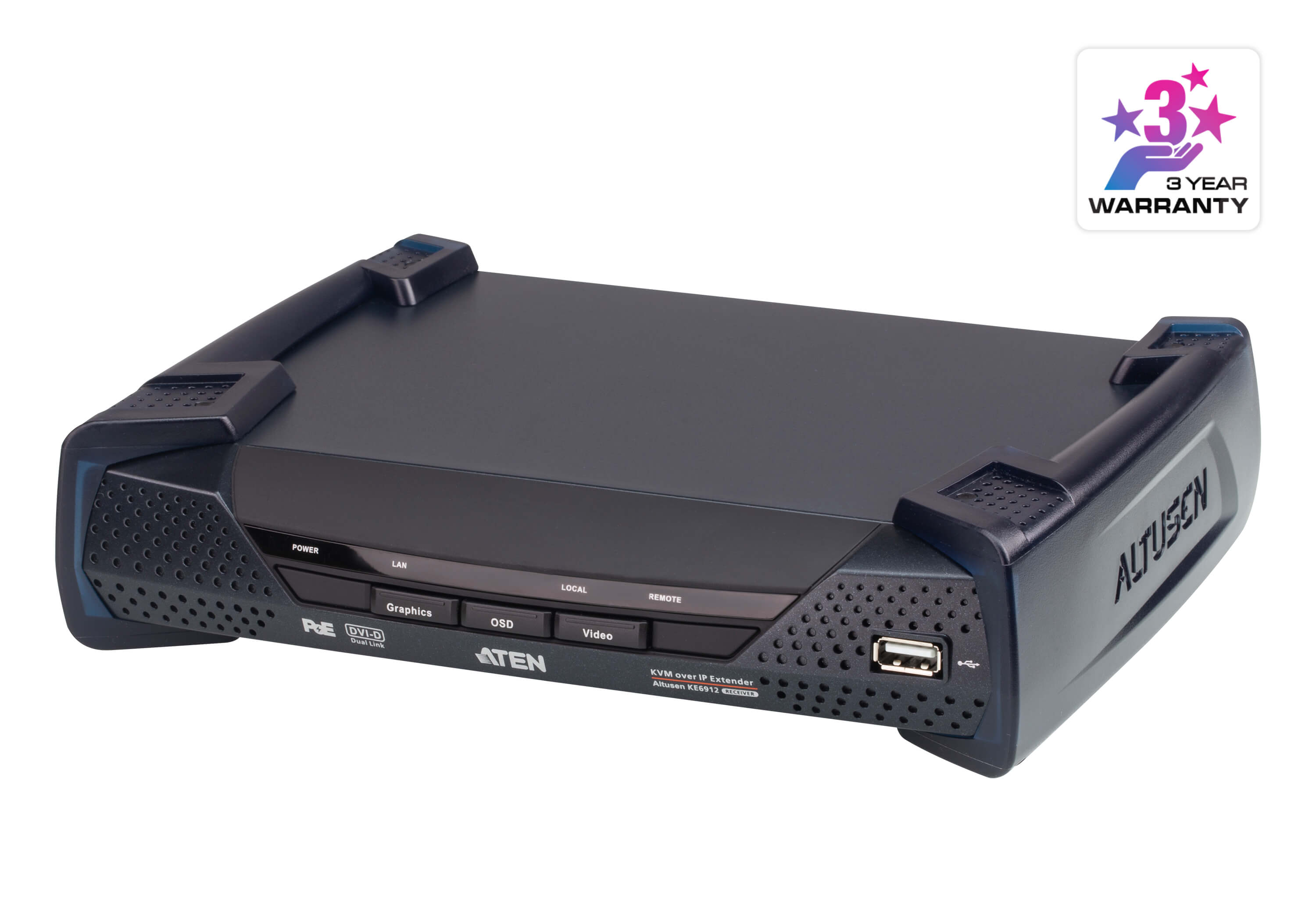 2K DVI-D Dual Link KVM over IP Receiver with PoE-2