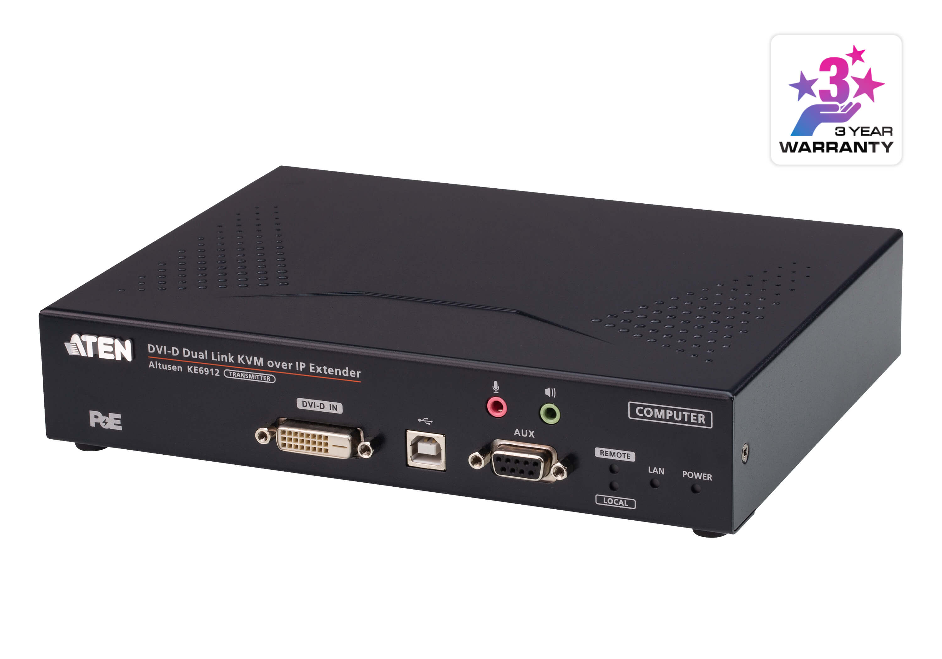 2K DVI-D Dual Link KVM over IP Transmitter with PoE-2
