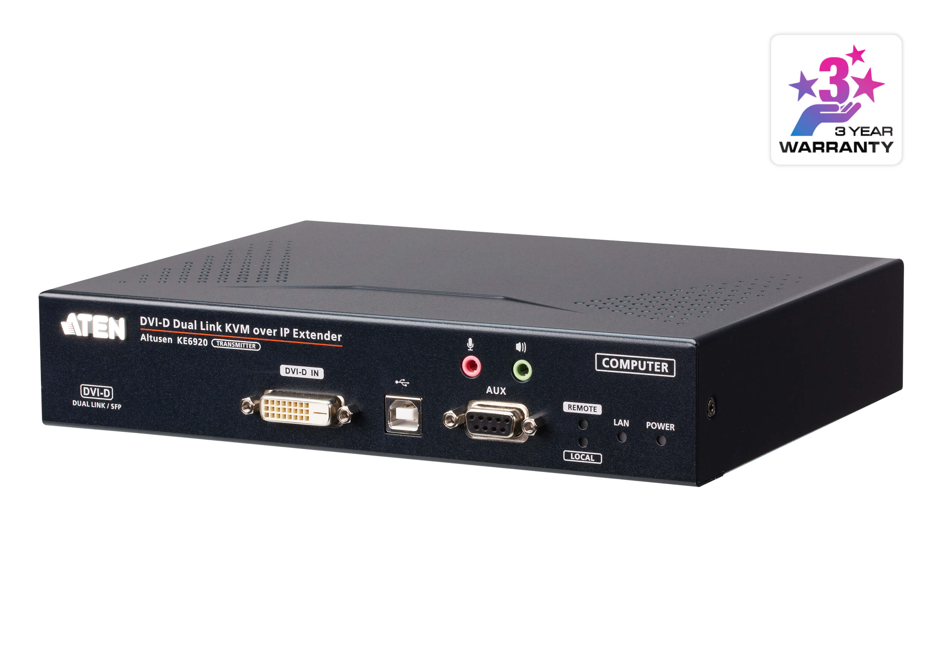 2K DVI-D Dual-Link KVM over IP Transmitter with Dual SFP-2