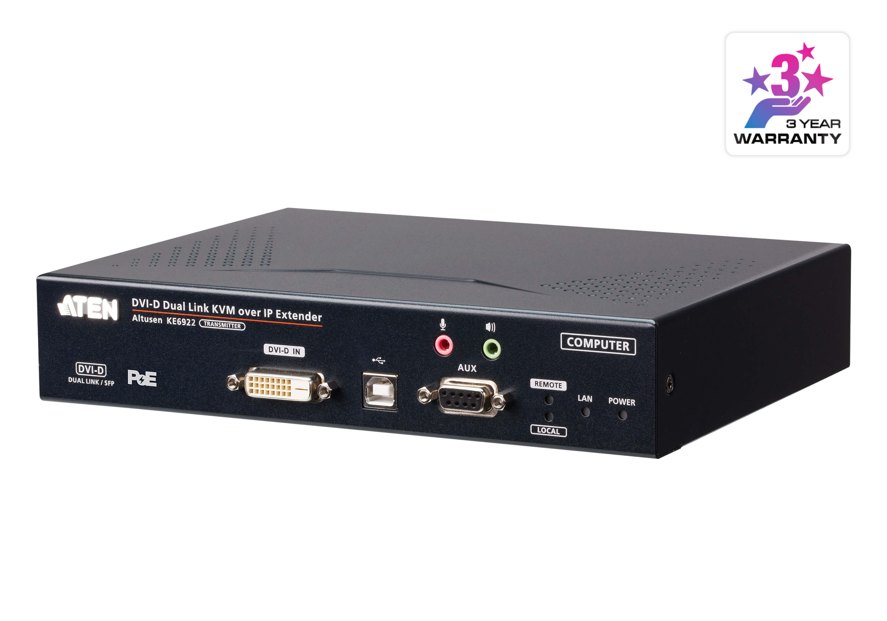 2K DVI-D Dual-Link KVM over IP Transmitter with Dual SFP & PoE-1