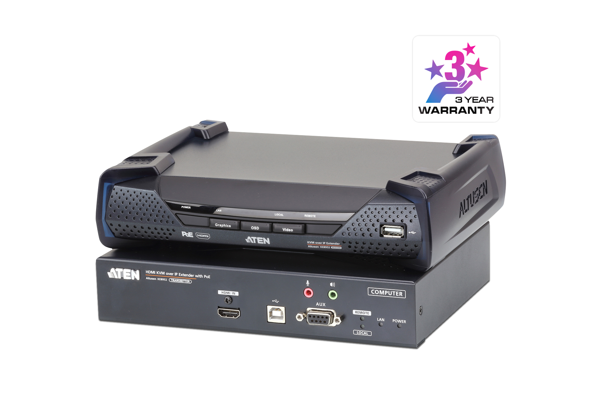 4K HDMI Single Display KVM over IP Extender with PoE-1