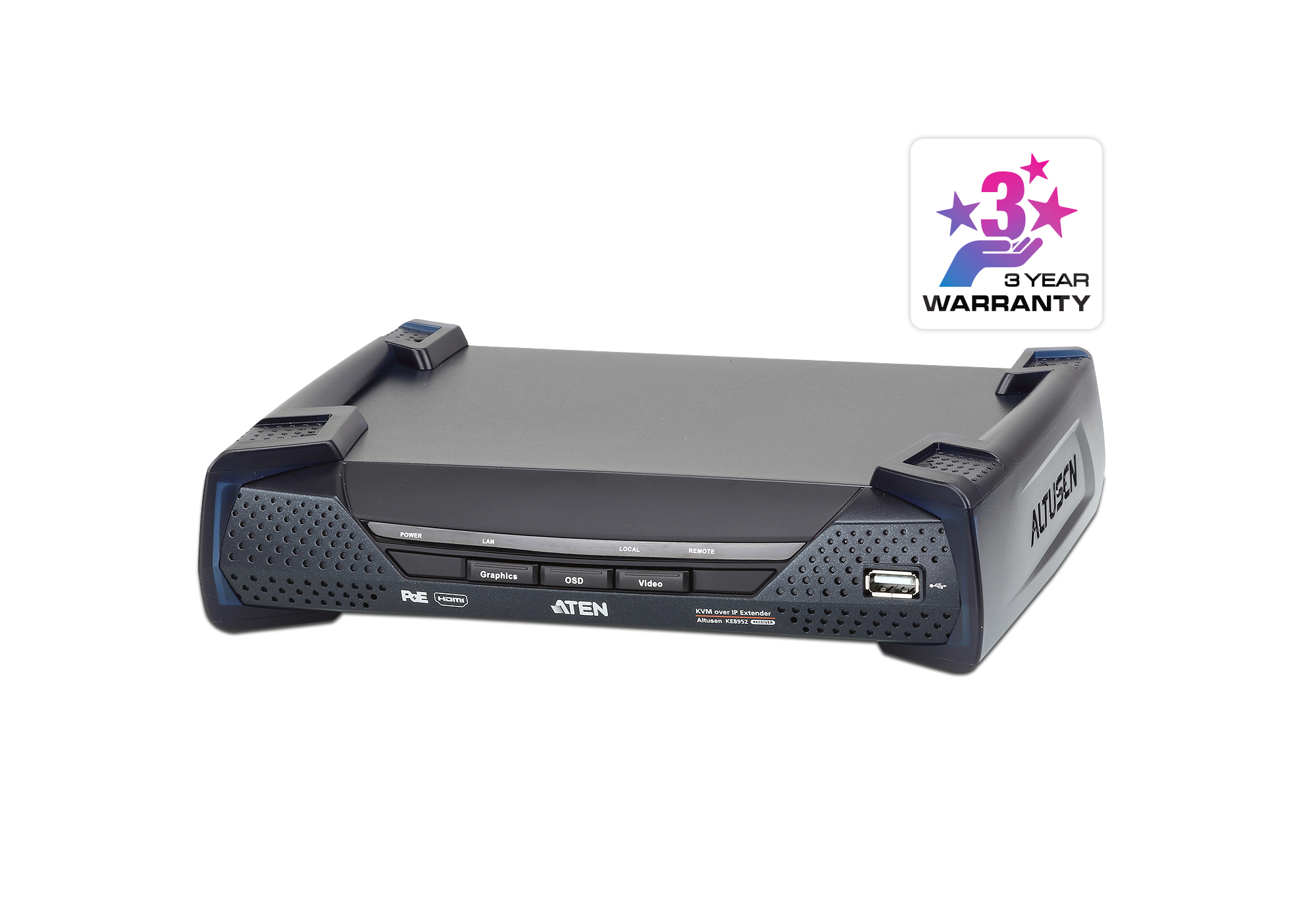 RECEPTOR KVM POR IP HDMI 4K SINGLE DISPLAY CON PoE